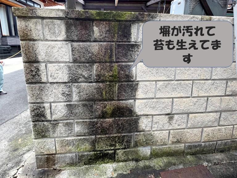 和歌山市、雨水で塀が汚れて苔が生えていました