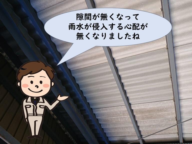 和歌山市でガレージ屋根の修理が完成し中から見た写真