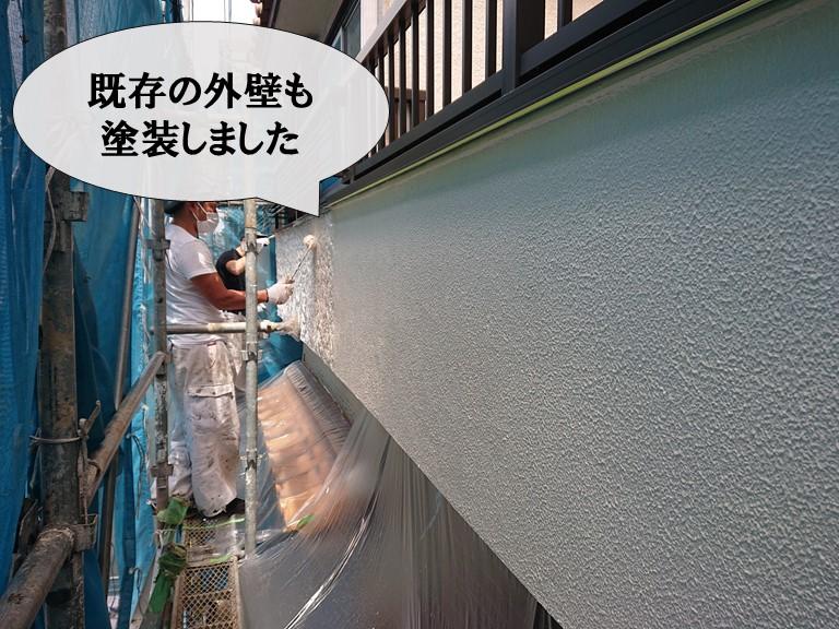 和歌山市で外壁復旧工事後、既存の外壁も塗装しました