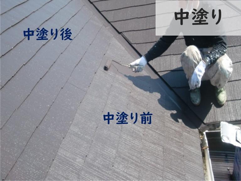 和歌山市で大屋根の屋根塗装で中塗りを行っていきます