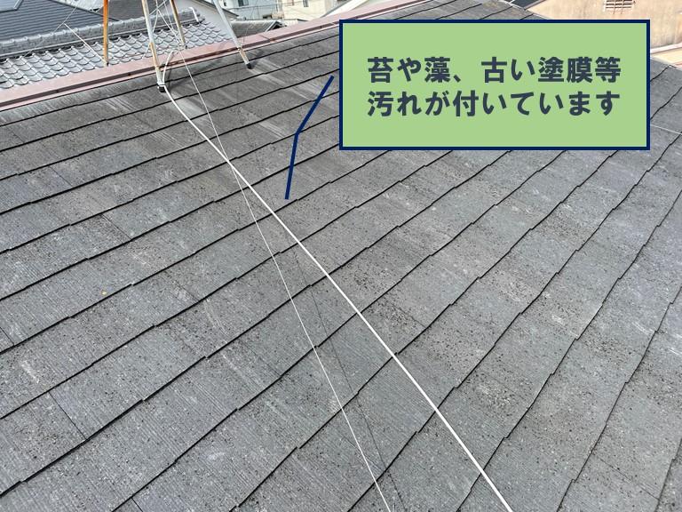 和歌山市で屋根塗装を行う前は、コケや藻がこびりついていました