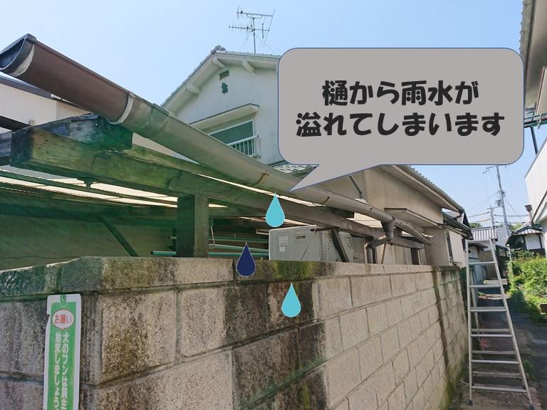 和歌山市で樋が変形しており、雨水が溢れています