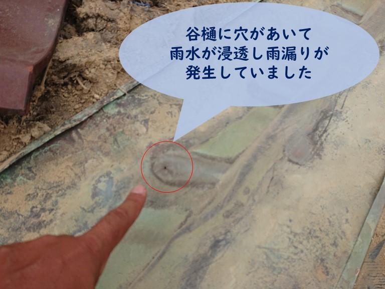 和歌山市で谷樋に穴があいたのが原因で雨漏りが発生しました