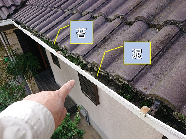 和歌山市で雨樋にコケや泥が溜まっていたので掃除しました