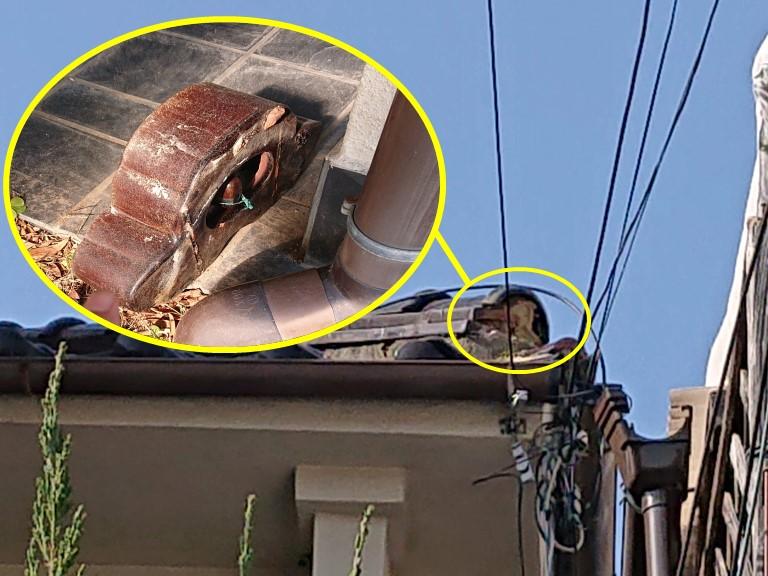 和歌山市で鬼瓦の固定する工事を行いました