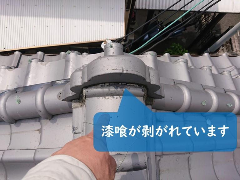 和歌山市で鬼瓦の漆喰が剥がれていました