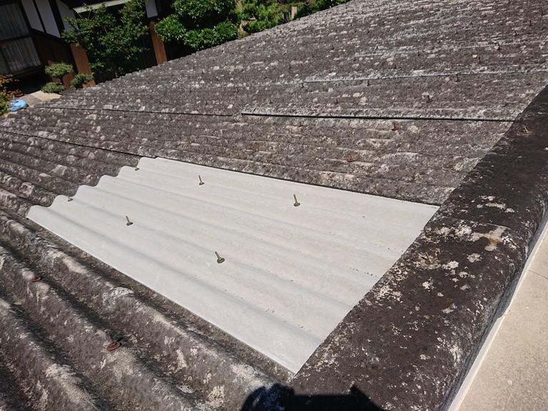 和歌山市のガレージの屋根が割れて修理した写真