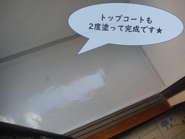 和歌山市のベランダ防水工事でウレタンをトップコートで保護し完成です