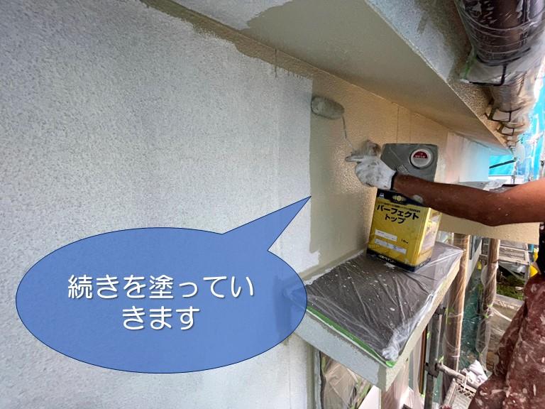 和歌山市の外壁塗装で雨が降った翌日再び塗装を開始します