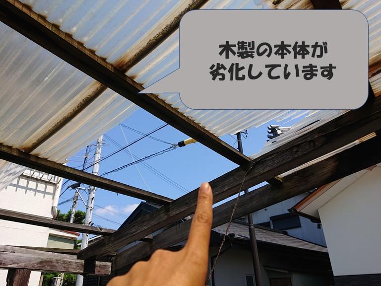 和歌山市の波板張替で木部の本体も劣化していました