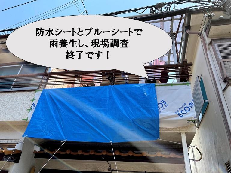 和歌山市の現場調査で落下した外壁に防水シートとブルーシートを使って雨養生しました