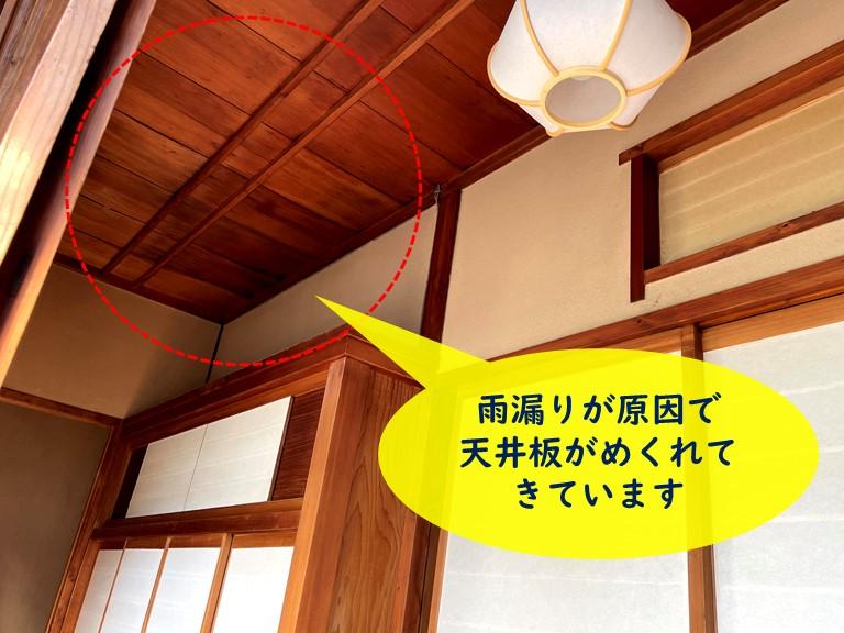 和歌山市の縁側から雨漏りが発生し天井板がめくれていました
