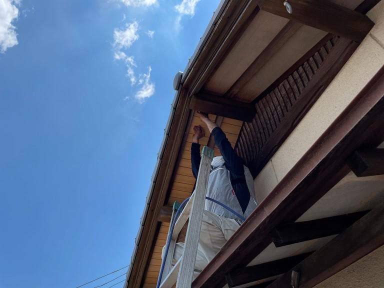 和歌山市の軒天修理でベランダ側の軒天も修理しました