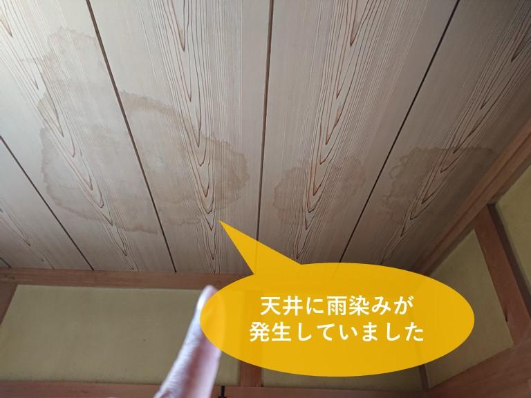 岩出市で和室に雨漏りのシミが3ヵ所できていました