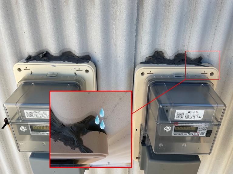 岩出市で電気メーターのコーキングが劣化しています