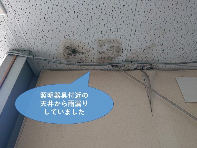 岩出市の工場で照明器具付近の天井から雨漏りしていました