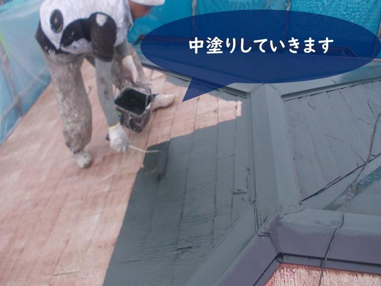 紀の川市でたスペーサーを挿入後、サーモアイで塗装していきます