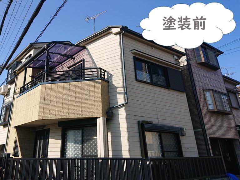 岩出市の外壁塗装・屋根塗装・付属部塗装を行う前の横から見た家の写真