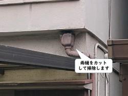 和歌山市の雨樋をカットして掃除します