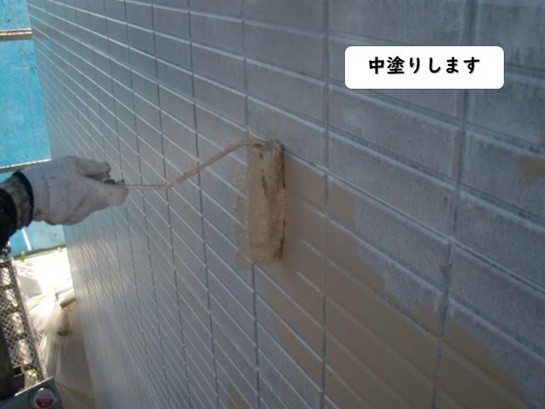 和歌山市の外壁の中塗り状況