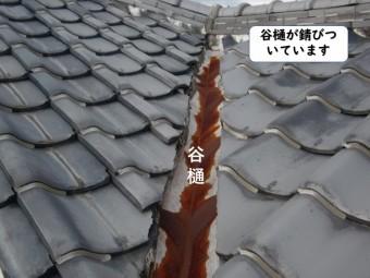 和歌山市の谷樋が錆びついています