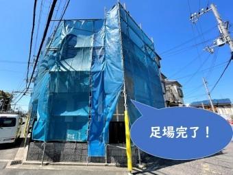 岩出市で外壁塗装・屋根塗装を行うので安全のために足場を設置し、完成した写真