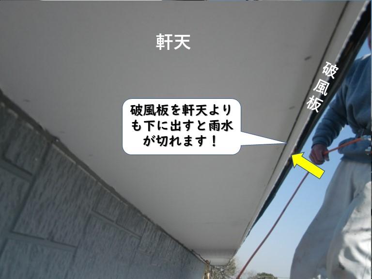 岩出市で破風板を軒天よりも下に出すと雨水が切れます