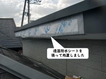 岩出市の破風板に透湿防水シートを張って処置しました