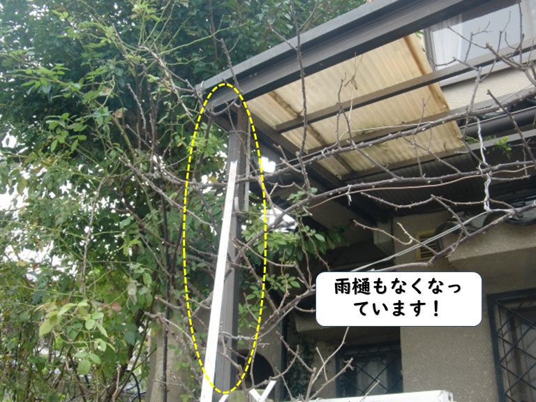 和歌山市のテラスの雨樋も飛散