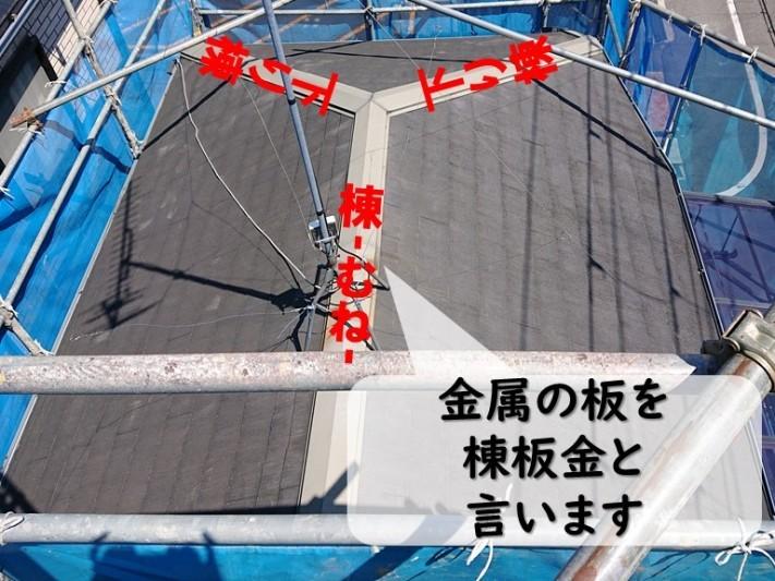 岩出市屋根塗装を行う前に現場調査へきて棟板金の様子を見ていきます