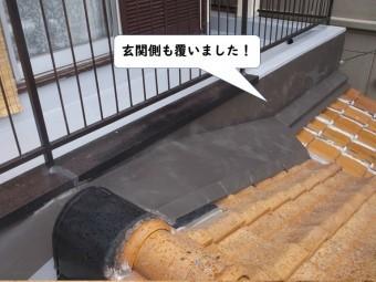 岩出市の下屋の玄関側も板金で覆いました