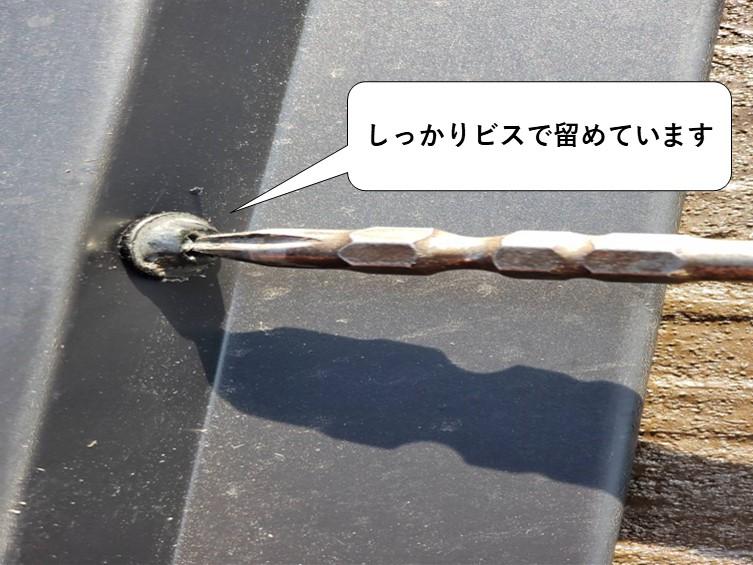 岩出市の雨漏り屋根工事で棟板金を設置した横の図ビスとめ