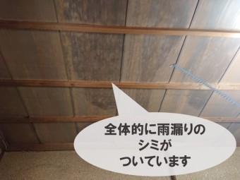 和歌山市の雨漏り調査で和室の天井一面に雨漏りのシミができていました