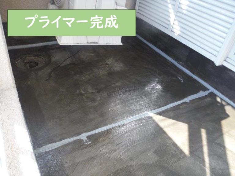 和歌山市の防水工事でプライマーを塗り完成し乾燥させていきます