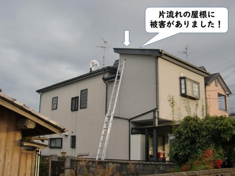 岩出市の片流れの屋根に被害がありました