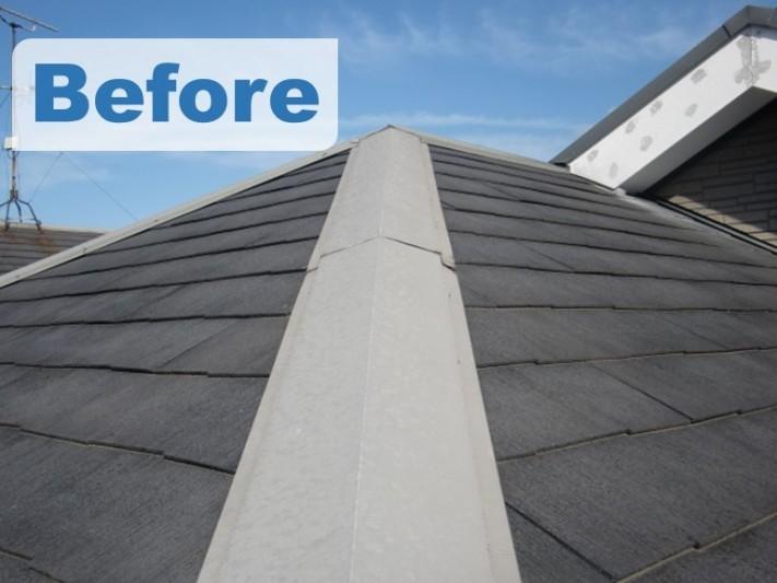 紀の川市での屋根塗装工事で塗装前の写真