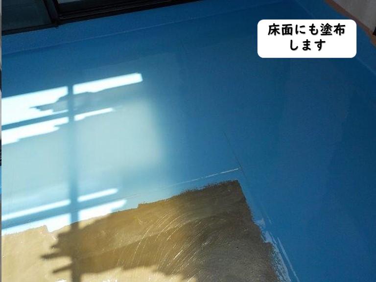 紀の川市のベランダの床面にも塗布します