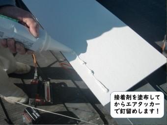 岩出市でケイカル板に接着剤を塗布してからエアタッカーで固定