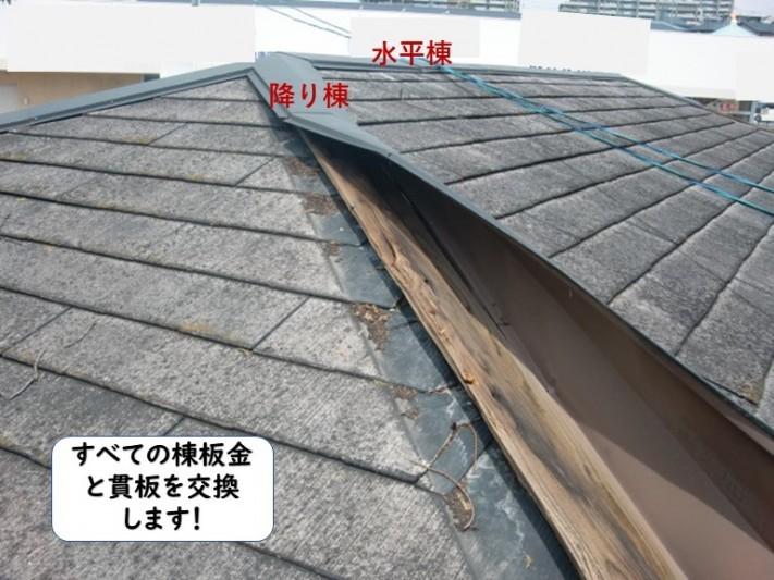 和歌山市の棟板金と貫板を交換