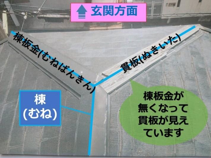 和歌山市で強い風で屋根の板金が飛ばされ貫板(木の部分)が見えていました