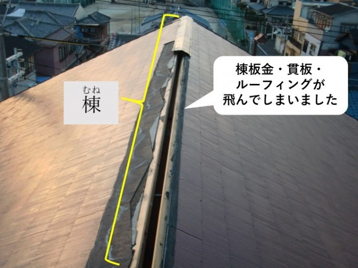 岩出市の台風の被害にあった屋根の現地調査