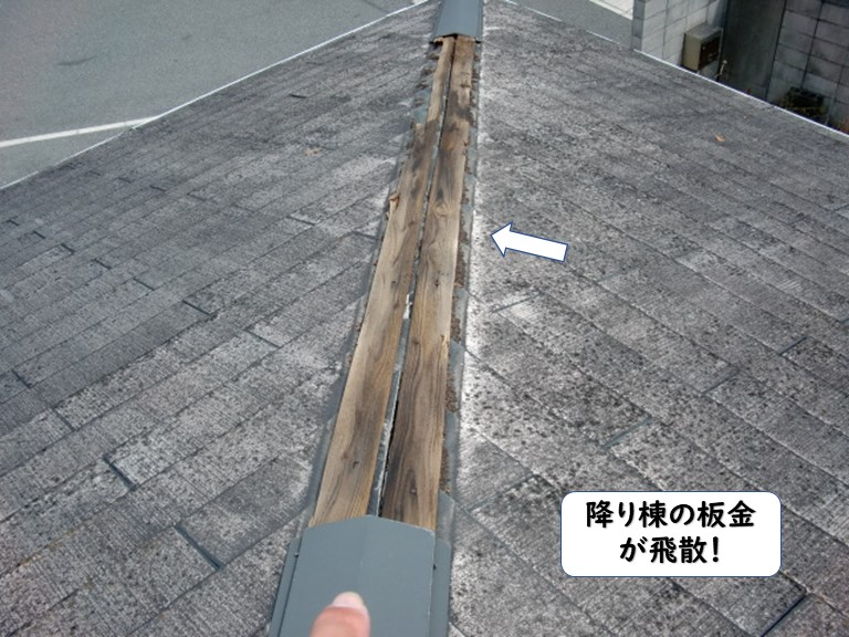 和歌山市の降り棟の板金が飛散