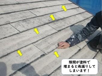 和歌山市のスレート屋根の隙間が塗料で埋まると雨漏りしてしまいます