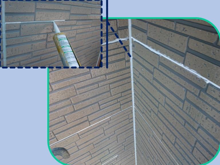 紀の川市で外壁塗装を行う前に横目地を充填剤(コーキング)で塞ぎました