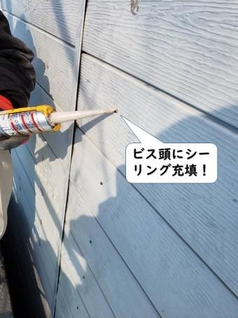 和歌山市のビス頭にシーリング充填
