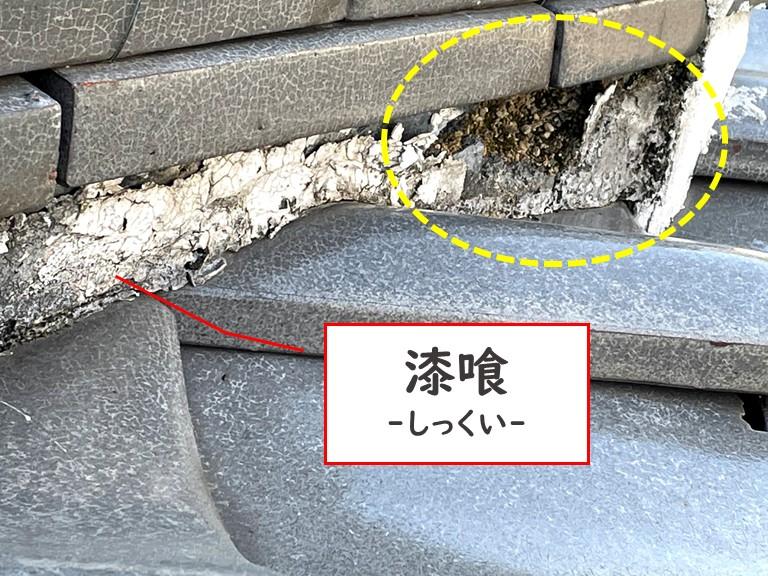 岩出市の下り棟部分の漆喰が劣化しており、剥がれて更に漆喰に苔がはえていました
