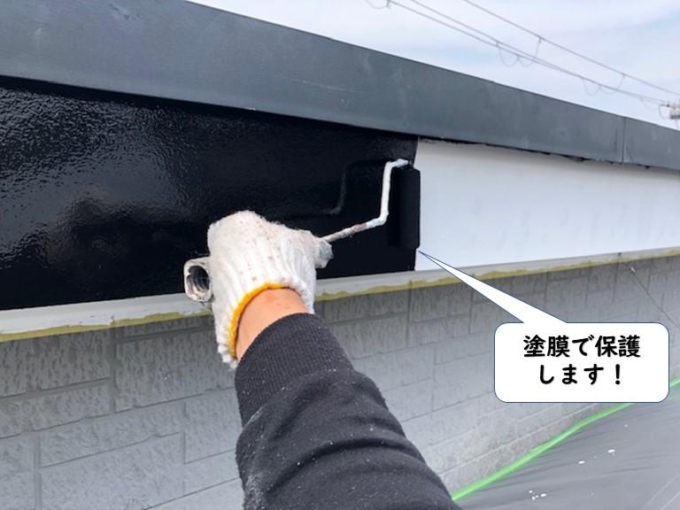 岩出市の破風板を塗膜で保護します