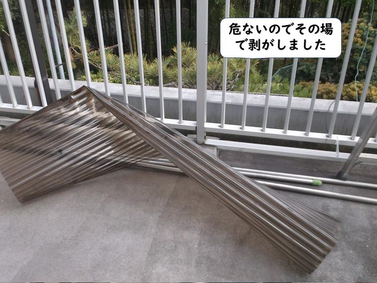 和歌山市の波板が飛びそうで危ないのでその場で剥がしました