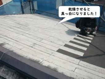 和歌山市の洗浄した屋根を乾燥させると真っ白になりました