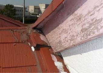 採光部周りの板金が変形している屋根